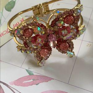 NWT Betsey Johnson Butterfly Bracelet Pink/Gold